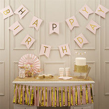 Free Shipping 1SET Photo Booth Props Handmade HAPPY BIRTHDAY Bunting Banner Wedding FAVOR kids Birthday GIFT Party FUN decor