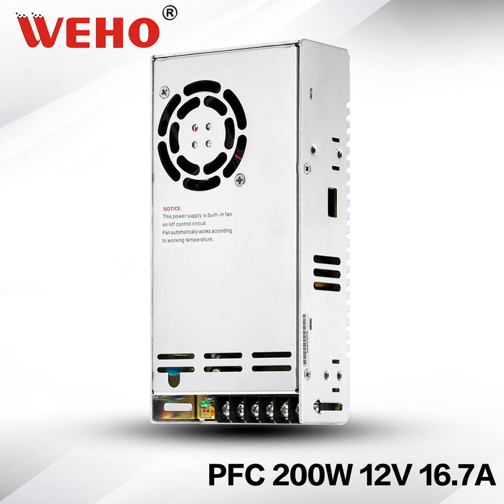 (SP-200-12)  12V 200W switching power supply 85-264VAC input 12V 16A dc output SMPS with PFC<br>