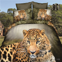 amazing 3d digital leopard bedding set doona/duvet cover bed sheet pillow cases 4pcs bed linen,queen size