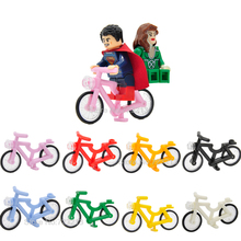 Single Sale Bike Medium AZURE BICYCLE Accessories Parts For City Super Hero Star Wars Building Block Model bricks Toys(China)