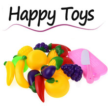 11pcs Cutting Plastic Artificial Children Kids Vegetable Pumpkin Radish Cabbage Classic Toy, Kitchen Food Pretend Play House