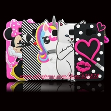 For Samsung Galaxy A310 3D Silicon Cat Unicorn Lip Bunny Cartoon Soft Phone Back Cover Case for Samsung Galaxy A3 2016 A310