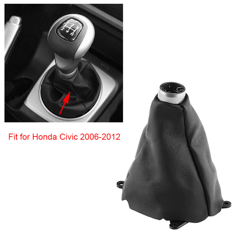 Gear Shift Boot Manual Gear Shift Gaiter Cover with Soft PU Leather as Replacement for Honda Civic 2006-2012 Black