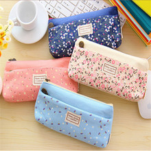 Kawaii Candy Color Pencil Bag Canvas Trousse Scolaire Stylo Floral Cute Pencil Pouch For Students School Stationery Gift Pen Bag
