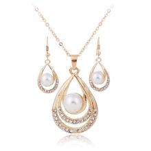2016 Teardrop Necklace Earring Set Gold/Silver Plated Simulated Pearl Jewellery Set For Women Wedding Crystal Jewelry XY-N600