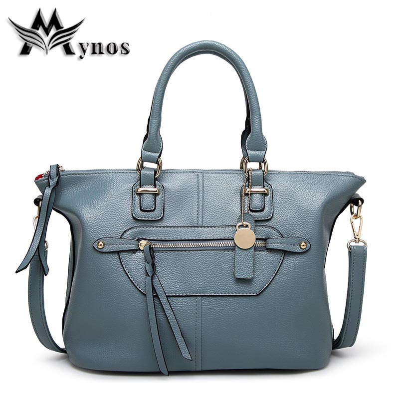 Mynos European and American Women Handbag Zipper Shouder Bag Messenger Bag Ladies Female Tote Top Handle Bag Sac A Main Bolsos<br>
