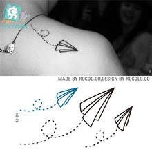 Rocooart HC1079 Tattoo Stickers Paper Airplane Design Temporary Tattoo Sticker Women And Men Sexy Shoulder Flash Tattoo(China)