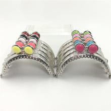 silver beautiful colorful eye design 8.5cm cute girl DIY coin bag metal clasp semicircle carved edge mini women purse frame 10pc(China)