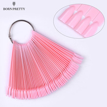50Pcs Pink False Nail Tips Set Nail Art Practice Display Tools White Transparent Black Acrylic UV Polish Color Card Fan Manicure(China)