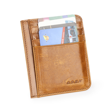 Brown Crazy House Real Genuine Leather ID Credit Card Holder Mini Wallets Slim small Purse Men Business Card Case With 6 Slots