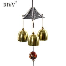 Wind Chimes Hanging Decorations Great Sound Bronze Color Bells u70809(China)