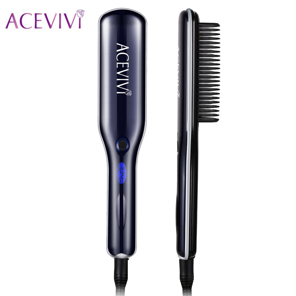 ACEVIVI Electric Hair Straightener Hair Brush Comb LCD Display Temperature Control Detangling Straightening Irons EU/US/UK Plug<br>