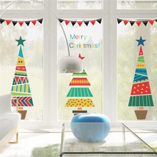 Cartoon Christmas Tree Gifts Wall Stickers For Kids Rooms Store Window Home Decor New Year Mural Art PVC Wall Decals(China)
