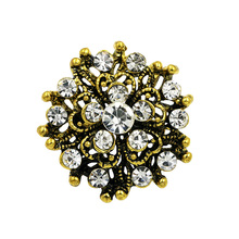 Clear crystal rhinestones flower bejeweled small brooch pins in antique gold color plated(China)