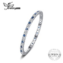 JewelryPalace Exquisite Round Created Blue Spinel Wedding Band Ring 100% 925 Sterling Silver Jewelry Newest Ring For Women(China)