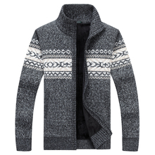 2017 New Men Sweaters Casual Wool Warm Thick Autumn Winter Cardigan Stand Collar Cotton Material Zipper Thin Wool Sweater M-XXXL(China)