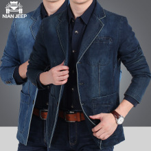 NIANJEEP 2017 Autumn Winter Blazer Men Cotton Denim Smart Casual Men Jacket Slim Fit Suits Brand Clothing Plus Size M-XXXL A3292