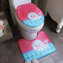 2pcs/set Cheap Non-slip Bathroom Rugs Carpet Set Toilet Cover Sea World Design Pedestal Soft Bath Mats Tapete De Banheiro