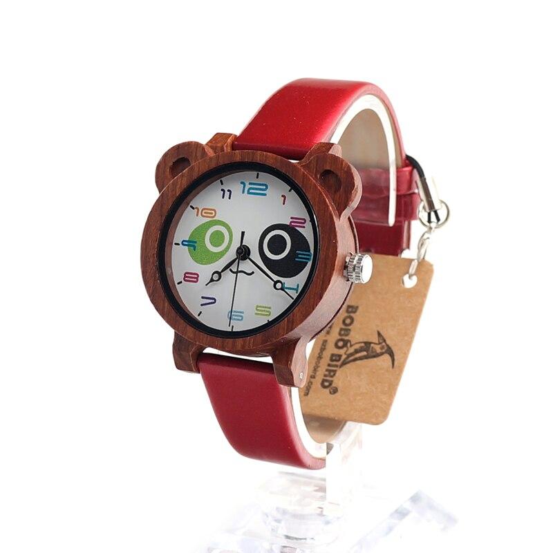 BOBO BIRD I13 Children Wooden Wristwatch Lovely Cartoon Case with Colorful PU Strap Student Watch Best Gift  reloj de los ninos<br><br>Aliexpress