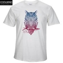 COOLMIND OW0112A хлопок короткий рукав Сова Мужская футболка с принтом  Прохладный Смешные мужские футболки топы мужские f8eff3cad1ec1