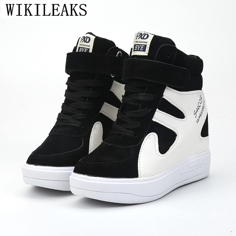 Height Increasing Casual Women Shoes Suede Leather Black White Platform Sneakers Women 2020 Ladies Shoes Woman Chaussures Femme