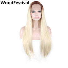 WoodFestival women straight long hair heat resistant sliver grey red synthetic lace front wig ombre blonde wig dark roots(China)
