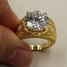 Size 8/9/10/11/12 Vintage Atmosphere 15ct Round 5a Zircon Stone 18KT Yellow Gold Filled Ring for Men
