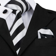 SN-276 White black Striped Tie Hanky Cufflinks Sets Men's 100% Silk Ties for men Formal Wedding Party Groom(China)