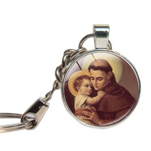 St Anthony of Padua Keychain Glass Cabochon Religious Saint Michale Key Chains Glass Dome Key Ring Handmade Jewelry Key Holder(China)