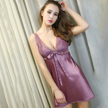 Women Pajamas Nightgowns V-neck Nightie Satin Silk Sleepwear Sexy Halter Strap Nightdress Lingeries(China)