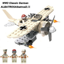 New Arrival WW2 Classic Surveillance Aircraft ALBATROSAlbatrosD. Model German 7thPanzer Division Military Figure Block Brick Toy