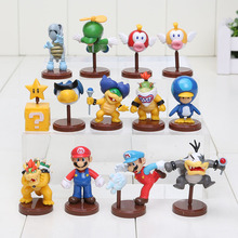 13pcs/set Super Mario Bros Wii Collection Toy Figures penguin mushroom star Bowser Princess pvc figure toys(China)