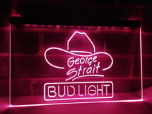LE116- Bud Light George Strait Bar Pub LED Neon Light Sign home decor crafts(China)