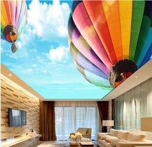 3d wallpaper for room Blue sky and white sky high altitude hot air balloon zenith fresco photo 3d wallpaper(China)
