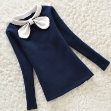 2016 Autumn Baby Girls Shirts Long Sleeve Children Clothing Bow Collar Lace Patchwork Girl Blouses Kids Clothes 3-12years