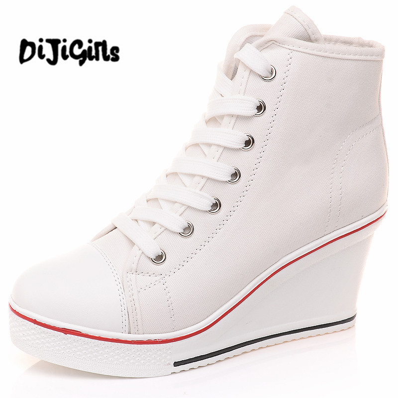 Free 2017 Badge Wedges High Lacing Casual Elevator Shoes Female Canvas Shoes High Top Wedge Boots Women Casual Shoes