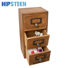 HIPSTEEN Retro Design Household Essentials 3-Level 3-Drawer Wooden Storage Chest Cabinet/Jewelry Organizer