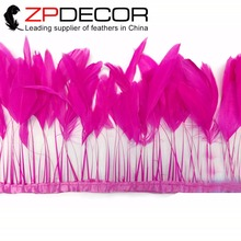 ZPDECOR 8-10inch(20-25cm) 10yards Hot Sexy Top Quality Fuchsia Dyed Stripped Chicken Tail Feathers Trim for Wedding Decoration(China)