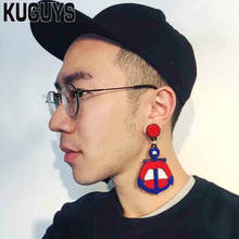 KUGUYS Fashion Acrylic Jewelry Custom Red Lip Anchor Drop Earrings for Womans Mans HipHop Rock Dangle Earring Pendientes Brincos(China)