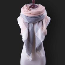 New Winter Scarf For Women Warm Shawls Bufandas Female Girls Scarves Luxury Brand Plaid Tassel Triangle Scarf Warm Scarf