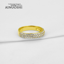 AINUOSHI Trendy 10K Solid Yellow Gold Band Women Wedding Rings Sona Simulated Diamond 3 Rows Drill Lovers Couple Engagement Ring