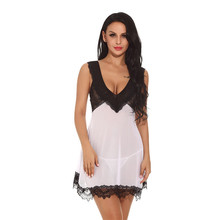 Buy 2017 Sexy Women Nightgown Night gown Sleep dresses Female Night Dress String Set Deep V Summer Sleepwear Lingerie XXL