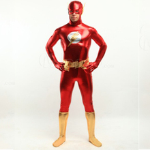 The Flash costume cosplay adult halloween costumes for men Superhero bodysuit Zentai Shiny carnival costume custom wholesale(China)