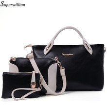 Soperwillton China Brand 2016 Composite Bag Women Bags Set Soft PU Patchwork Panelled Fashion Shoulder Bag Ladies #664