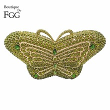 Luxury Crystal Diamond Women Green Butterfly Evening Box Clutches Handbags Hardcase Metal Wedding Party Banquet Shoulder Purse(China)