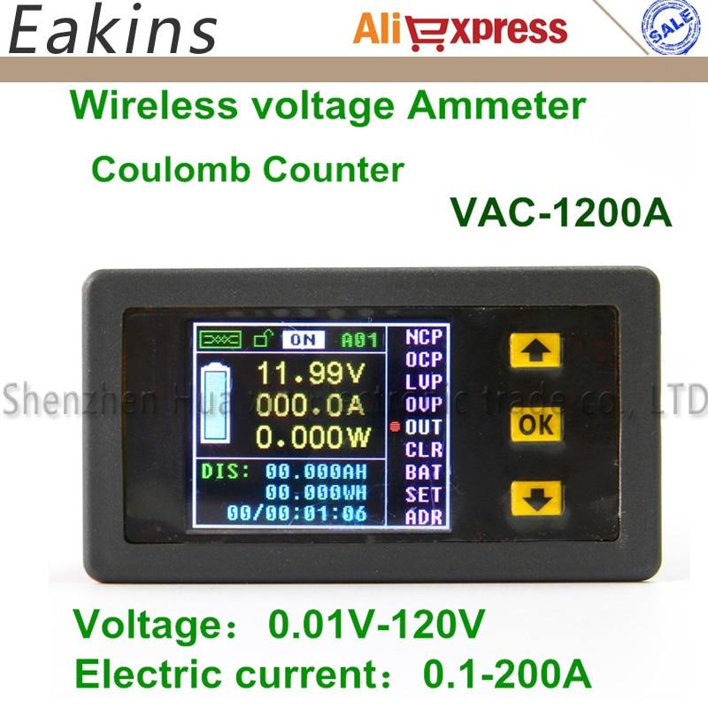 1200A Color Multifunction Digital LED power meter monitor Voltage KWh meter kw meter Volt Ammeter voltmeter 0.01-120V 0.01-200A<br>