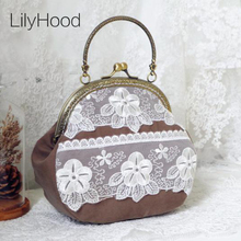 LilyHood Women Shabby Chic Lace Shoulder Bag Handmade Vintage Retro Victorian Wedding Cotton Frame Chain Stacy Small Funky Bag(China)