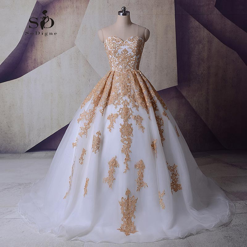 SoDigne Plus Size Bridal Gown Sweetheart Champagne Lace Appliques Lace-up Wedding Princess Ball Gowns Vestido De Noiva Romantic