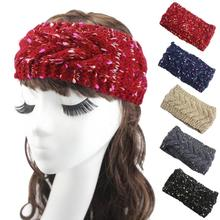 New Crochet Headband Knit hairband Flower Winter Women Ear Warmer Headwrap Hair Muffs Band Winter(China)