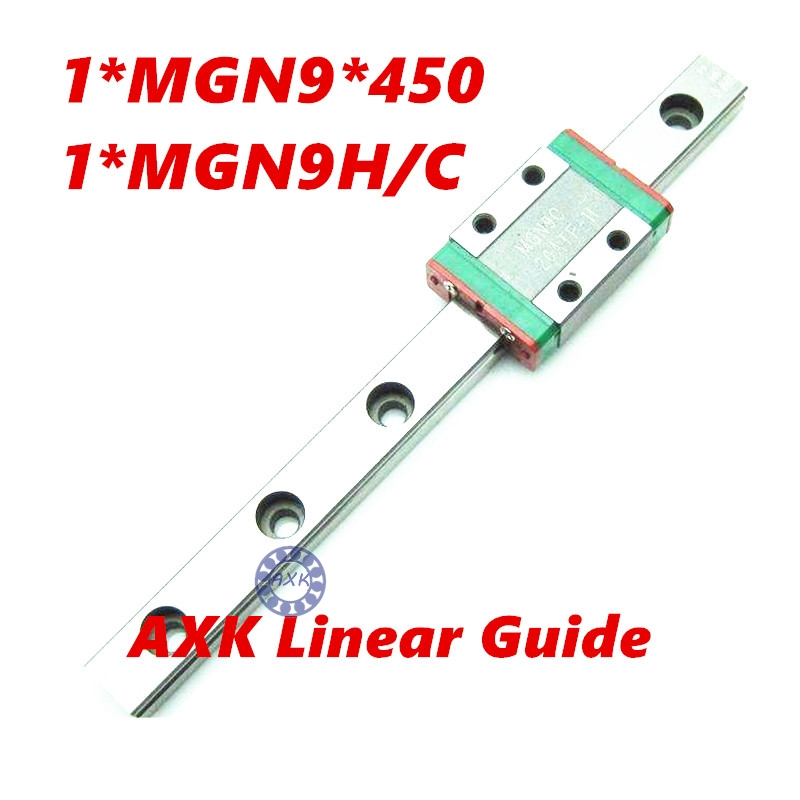 Free shipping 9mm Linear Guide MGN9 L= 450mm linear rail way + MGN9C or MGN9H Long linear carriage for CNC X Y Z Axis<br>